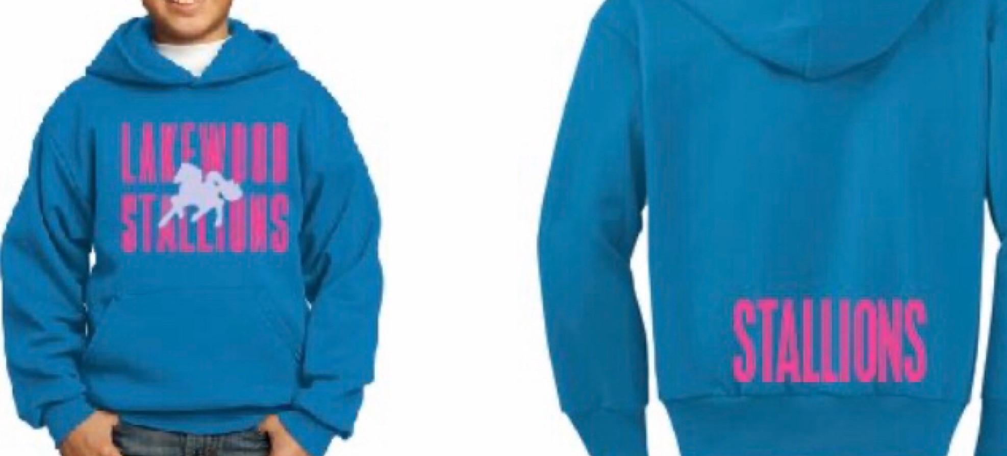 Sweatshirt with Pink Writing and Silver Stallion